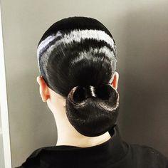 Slick ballroom 'do Latin Hairstyles, Slick Hairstyles, Braided Hairstyles Updo, Down Hairstyles, Wedding Hairstyles, Bun Hairstyle, Updos, Sleek Updo, Sleek Hair