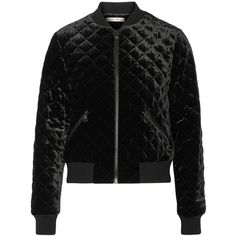 Alice + Olivia Demia quilted velvet bomber jacket ($550) ❤ liked on Polyvore featuring outerwear, jackets, bomber style jacket, cropped bomber jacket, blouson jacket, flight jacket and quilted bomber jacket