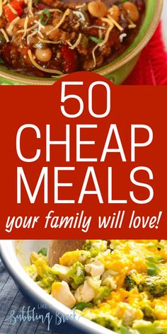 50 cheap meals that are easy recipes and fast to make from scratch! Kid friendly, too! Our family loves this recipe list! We use it for our meal planning! easy meals 50 Cheap Meals For Families That Even The Kids Will Love Cheap Family Meals, Cheap Easy Meals, Inexpensive Meals, Frugal Meals, Budget Dinners, Easy Budget, Cheap Recipes, Healthy Cheap Meals, Cheap Food