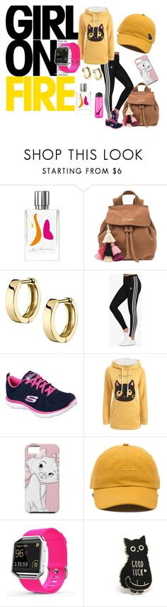 Girl on fire by krissel1 on Polyvore featuring moda, adidas Originals, Skechers, The Wolf Gang, Fitbit, Vans, Kilian and NIKE
