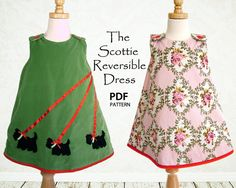 Girls dress pattern, Reversible, Childrens sewing pattern PDF, Kids pattern…