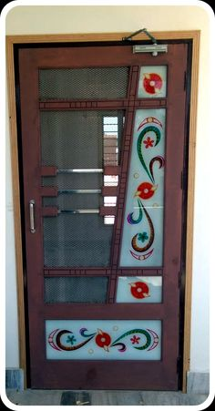 NET DOOR DESIGN: The net door is usually used to stop mosquito or fly, But now the time is changed and the people have to do it for the decoration house House Main Door Design, Single Door Design, Wooden Main Door Design, Door Gate Design, Bedroom Door Design, Door Design Interior, Glass Etching Designs, Glass Painting Designs, Centre Table Design