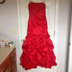 "Red Prom Dress Size 9/10 Altered for someone who is 5'4"" 34B Chest  Some dirt marks that could be removed if taken to the dry cleaner.  #promdress #promseason #prom Deb Dresses Prom"