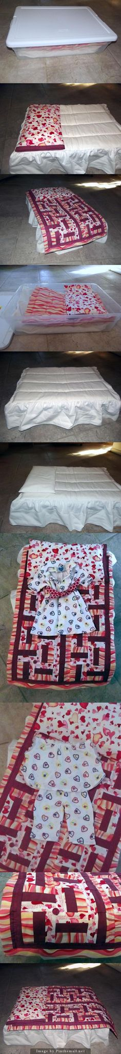 This Is The Bed I Made For Mackenzieu0027s AG Doll. I Used A Plastic Bin