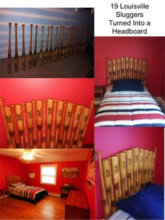 Amazing Baseball Bat Headboard Made From 19 Louisville Slugger Bats Thanks To The