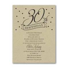 30th Confetti Thirtieth Birthday Invitation choose paper color - discount at check out! http://partyblock.carlsoncraft.com/Parties--Celebrations/Birthday-Invitations/3166-NK4016430KR-30th-Confetti--Birthday-Invitation--Kraft.pro