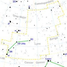 LYN #Lince, #Lynx, #Lyncis, #Lyn, is a winter constellation (culminates around the meridian at 22 of 19 February). It covers 545 square degrees. Hevelius refers to the myth of Linceo, son of Aphareus and cousin of the Dioscuri, Castor and Pollux.