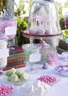 On a dessert table don't be afraid to mix in pre-packaged food (bowls of candy) and non-food items (flowers, vases, books, etc.).