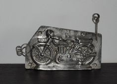 """ANTIQUE GERMAN TIN CHOCOLATE MOLD MOTOR CYCLE WALTER 5 1/4"""" in Antiques, Decorative Arts, Metalware 