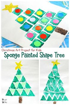 Christmas Art Project for Kids: Sponge Stamped Christmas Tree Using Sponges and Different Shapes- work on spatial awareness, shapes, creativity, […] Arts And Crafts For Adults, Easy Arts And Crafts, Arts And Crafts Projects, Diy Crafts For Kids, Art For Kids, Craft Stick Crafts, Fun Crafts, Craft Ideas, Christmas Art Projects