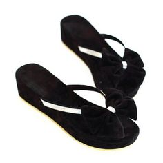 Cheap Wholesale New Arrival Bow and Wedge Heel Design Slippers For Women (BLACK,37) At Price 13.96 - DressLily.com