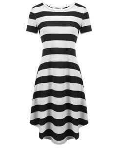 Red O-Neck Short Sleeve Striped Casual Loose Fit Tunic Dress