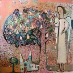 """""""When Chestnuts in Blossom"""". 2005. 65х65cm. Oil on canvas"""