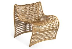 Lola Occasional Chair, Saddle on OneKingsLane.com. Suitable for outdoor use, this chair boasts sweeping curves and a wonderfully textural surface made of iron and vinyl.