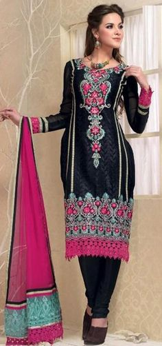 $103.87 Black Full Sleeve Georgette Knee Length Punjabi Salwar Kameez 18307