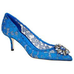 Dolce & Gabbana Bellucci Embellished Lace Pump (13 835 ZAR) ❤ liked on Polyvore featuring shoes, pumps, lace pumps, short heel pumps, floral print shoes, floral shoes and flower print pumps