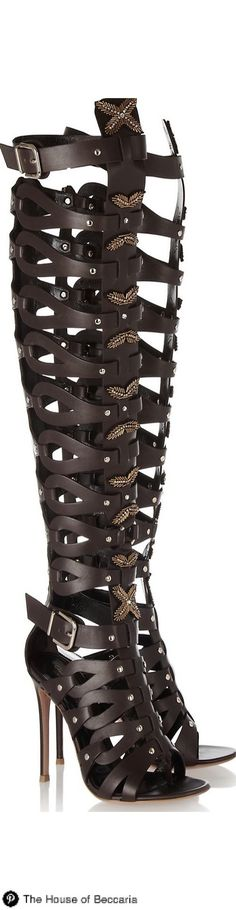 ~Altuzarra Embellished Leather Cage Gladiator Sandals | House of Beccaria |  @  ladies boots