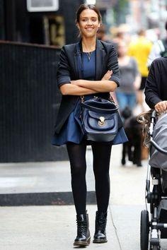 Jessica Alba wearing Dr. Martens Clemency 8-Tie Boots.
