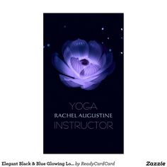 Elegant Black & Blue Glowing Lotus Yoga Instructor Business Card