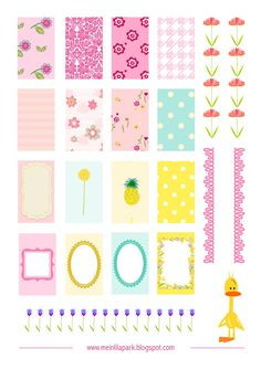 Free printable floral spring stickers