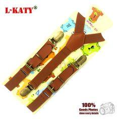 Brown Genuine Leather 3 clips Vintage Suspenders Children Elastic belt Buckle Clip-on Suspenders Y-back Style EBD6127-1