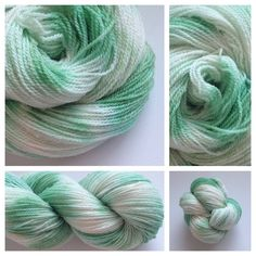 ~MINTY~ #handdyedyarn #yarnbaby #indiedyer Color(s): light mint green, cream (I use only professional grade dyes)  Fiber(s): 100% mountain merino  Weight: sock/fingering, 2 ply  Length/yardage: 400 yards  Care instructions: hand wash, lay flat to dry