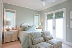 guest bedroom color - sherwin williams filmy green