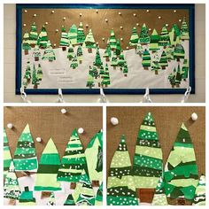 Torn Paper Tree Wonderland Created by Kindergarten and Cathy Hicks (Kim & Karen: 2 Soul Sisters) Christmas Art Projects, Christmas Tree Art, Winter Art Projects, Winter Crafts For Kids, Holiday Crafts, Art For Kids, Classroom Art Projects, Art Classroom, Kindergarten Art