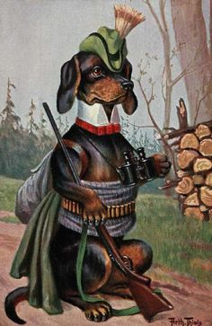 DOG, DACHSHUND HUNTING, FROM THIELE  POSTCARD, MAGNET