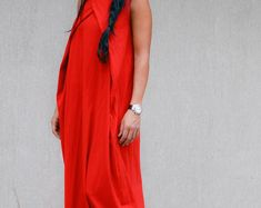 Asymmetrical Red Dress with Raglan Sleeves, Long Loose Everyday Dress, Oversize Garden Party Dress, Urban Style Comfortable Dress, Plus Size Urban Fashion, Women's Fashion, Cheap Fashion, Curvy Fashion, Fashion Clothes, Fashion Trends, Everyday Dresses, Sexy Skirt, Cotton Skirt