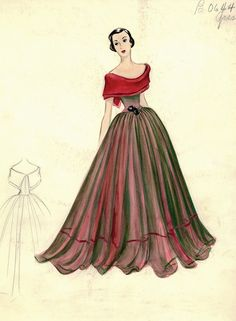 Evening gown sketch by Madame Gres for Bergdorf Goodman, 1950s.