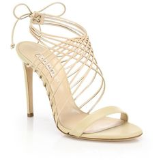 Casadei Leather Crisscross Sandals (25 820 UAH) ❤ liked on Polyvore featuring shoes, sandals, heels, apparel & accessories, nude, heeled sandals, leather ankle strap sandals, ankle strap sandals, nude heel sandals and ankle tie sandals