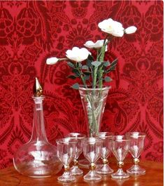 Decanter and wine glasses by William Croisy