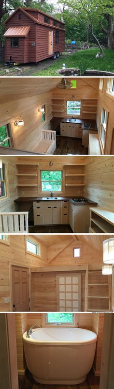 The tub.literally the tub! mytinyhousedirectory: The Brownie By Liberation Tiny Homes Bathtub over end alcove. Small Tiny House, Tiny House Living, Tiny House Plans, Tiny House Design, Tiny House On Wheels, Small Houses, Tiny House Nation, Tiny Spaces, Suites