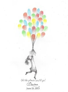 Girl being lifted by Balloons Finger Print by PTWatersDesigns, $18.00