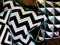 via 47 Park Avenue balck and white quilted pillow with contrasting trim Geometric Cushions, Geometric Patterns, Cute Quilts, Quilted Pillow, Retro Home Decor, Park Avenue, Home Textile, Textiles, Pillows