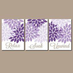 BATHROOM Wall Art CANVAS or Prints Purple Lavender Relax Soak Unwind Dahlia Flower Burst Choose Colors Set of 3 Bathroom Home Decor