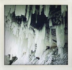 Stalagmites and stalactites of ice (Tännforsen, Sweden).