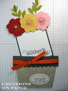 Flower Pot Card - Happy Mothers Day.