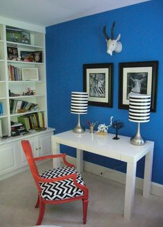 Delicieux Love The Stripped Lamps Royal Blue Walls, Blue Lounge, Home Living Room,  Bedroom