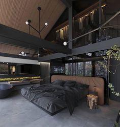 Dream Home Design, Modern House Design, Modern Houses, Apartamento New York, Black Interior Design, Interior Modern, Luxury Interior, Dark House, Dark Interiors