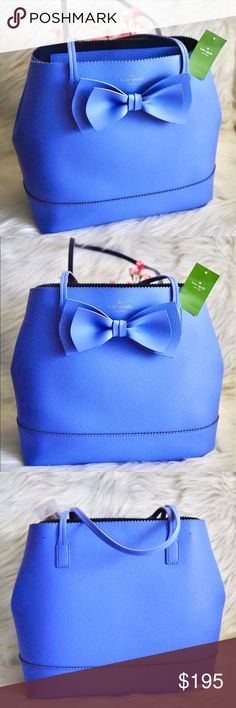 """💎Kate Spade Vanderbilt Place Giorgia Large NWT. Color: Delphinium Blue Material: Smooth Leather Dimension: 12L x 11.5H x 6.25W Strap drop length: 8.75"""" • Price is firm. Sell only, no trades. kate spade Bags Totes"""