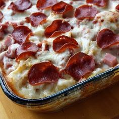 3 Meat Pizza Casserole {Note to self--we liked Italian sausage....leave out the ham & use extra Italian sausage next time; more pasta & more sauce,  We thought it was really good!}