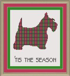 Tis the season Scottie dog: cute Christmas cross-stitch pattern. $3.00, via Etsy.