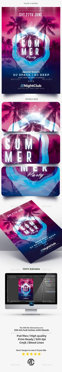 Summer Party - Flyer Template - Clubs & Parties Events Download here: https://graphicriver.net/item/summer-party-flyer-template/19936201?ref=classicdesignp