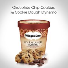 Chocolate chip cookies paired with Cookie Dough Dynamo Häagen-Dazs. Need we say more? #IceCream #CookieDough #Recipe