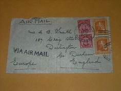 1939 Postmarked Cover Philippine to England Air Mail #428 Pair & McKinley Pair $0.99