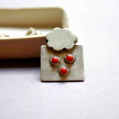Sterling Silver Necklace with Nickel Silver with Tiny Corals - When Red Snow Falls - One of a kind