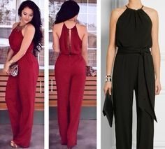 Jumpsuit with halter neckline free sewing pattern plus size Jumpsuit Pattern, Pants Pattern, Clothing Patterns, Dress Patterns, Sewing Patterns, Casual Outfits, Cute Outfits, Diy Clothes, Ideias Fashion
