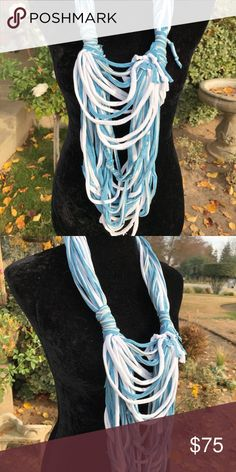 Multi textured knotted strands infinity scarf Beautiful pop of color to any wardrobe Second Nature Designs by cc Accessories Scarves & Wraps
